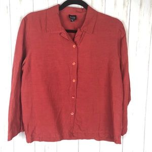 Eileen Fisher rust linen & silk blouse size small